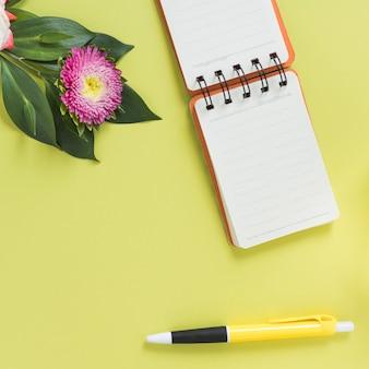 Wysoki kąt notatnika spiralnego; pióro i kwiat na kolorowym tle