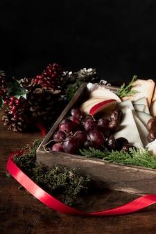 Wysoki kąt ułożenia świątecznych potraw
