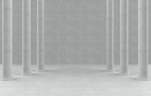 Wysoki rzymski stylowy słup wiosłuje w pustym cementowym izbowym tle.