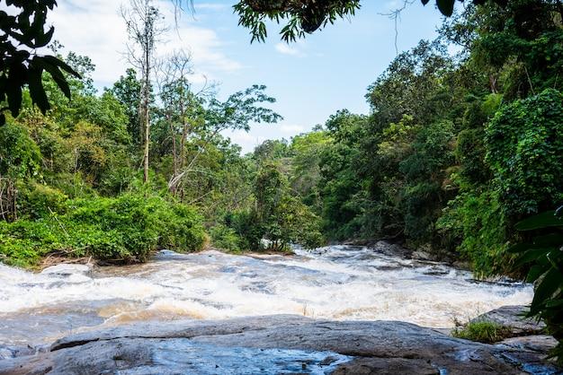 Wysoki strumień wody w rzece po ulewnym deszczu.