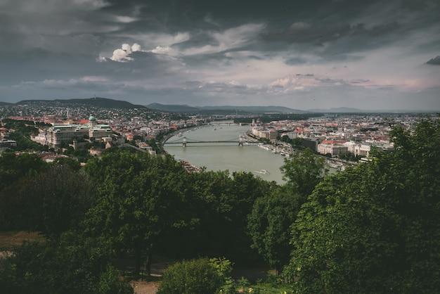 Wysoki strzał anioła miejskiej scenerii z rzeką pośrodku i drzewami otaczającymi widok