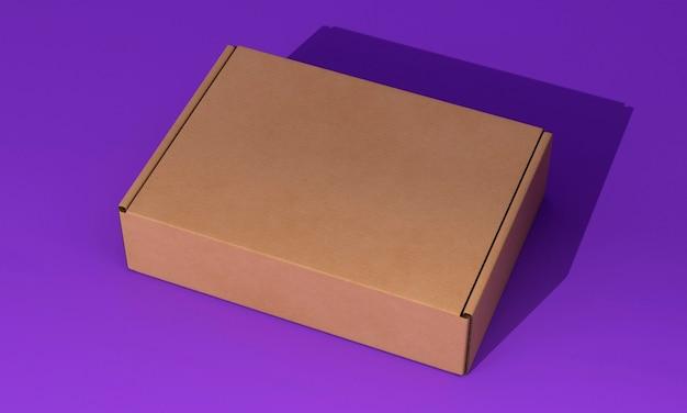 Wysoki widok brązowe pudełko na fioletowym tle