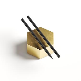 Wysoki widok dwa ołówki na złotym geometrycznym kształcie