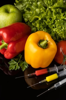 Wysoki widok gmo żywności modyfikowanej chemicznie