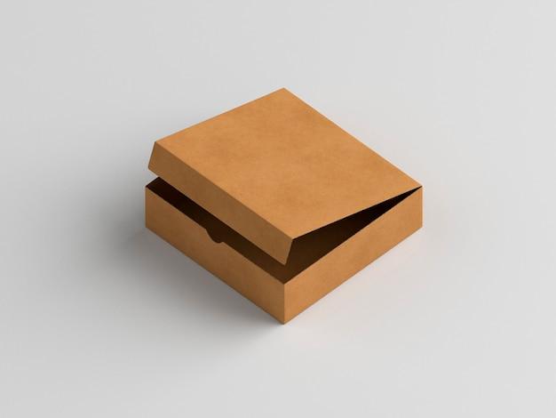 Wysoki widok otwartego pudełka do pizzy