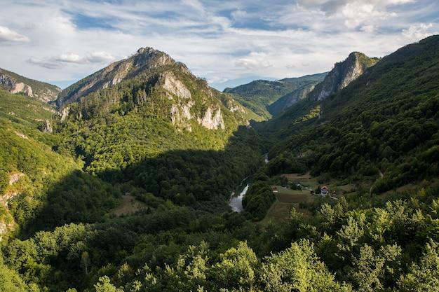 Wysokie góry czarnogóry pokryte są jesienią lasem z domkami w wąwozie