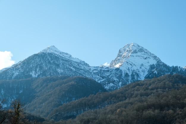 Wysokie góry pod śniegiem w zimie. piękna górska zima