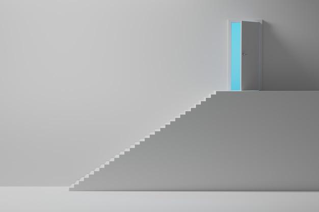 Wysokie schody prowadzą do otwartych drzwi z niebieskim światłem