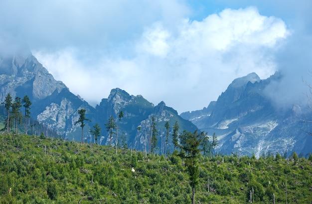 Wysokie tatry latem pochmurny widok na góry (słowacja)