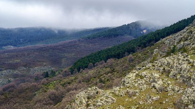 Wysokogórski krajobraz z drzewami, skałami i chmurami z mgłą na szczytach. madryt.
