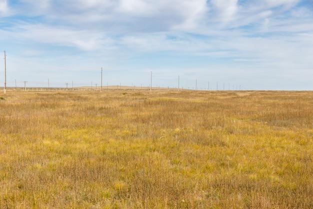 Wysokonapięciowa linia energetyczna w mongolskim stepie, mongolia