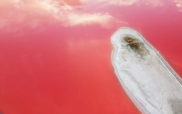 Wyspa jest zasolona na różowym jeziorze, w tle widok z góry