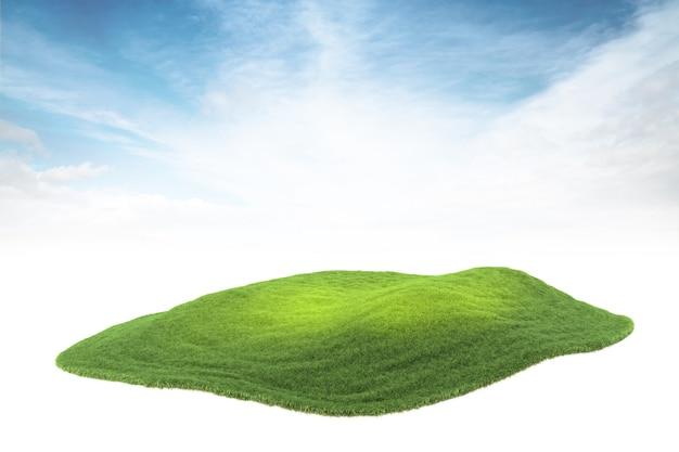 Wyspa kawałek ziemi lub wyspa unosząca się w powietrzu na tle nieba