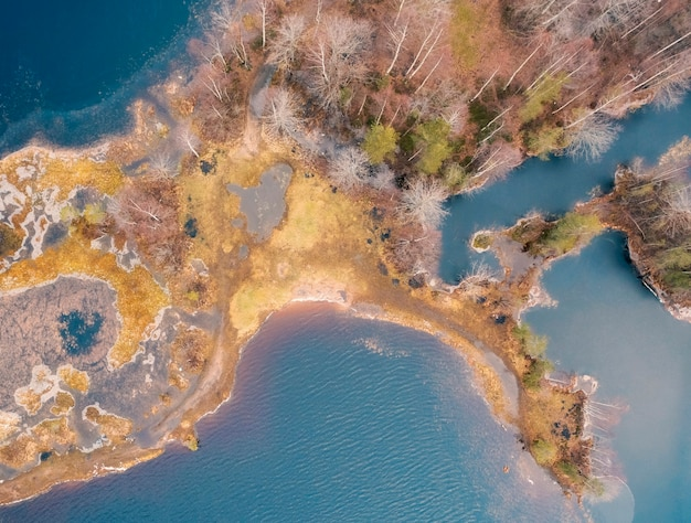 Wyspa na jeziorze wśród dużego północnego lasu na głębokich jesiennych zdjęciach lotniczych