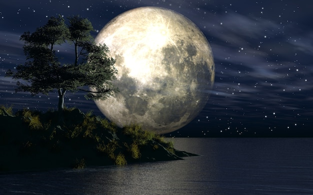 Wyspa na morzu na tle księżycowego nieba
