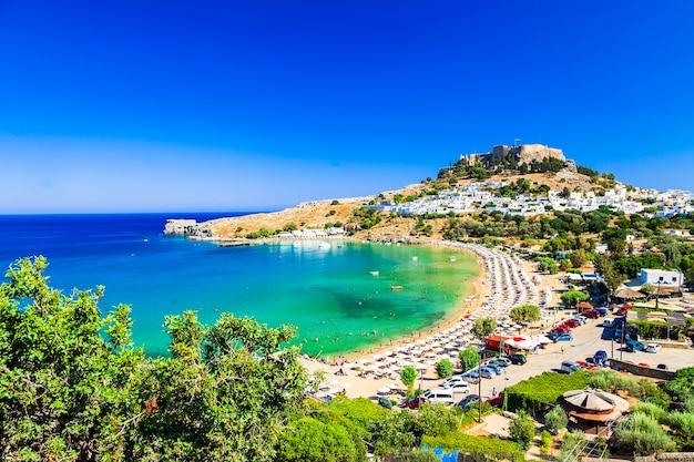 Wyspa rodos, piękna plaża lindos