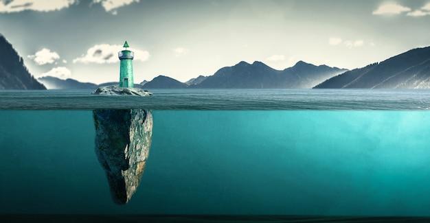 Wyspa z latarnią morską na dzikim morzu