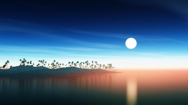 Wyspa z palmami o zachodzie słońca