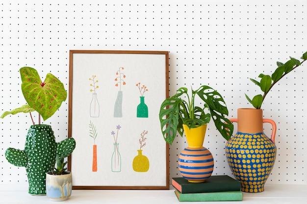 Wystrój domu dla miłośników roślin z ramką na zdjęcia