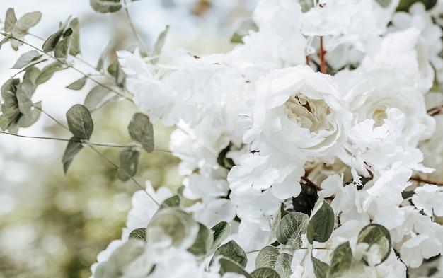 Wystrój łuku z białymi kwiatami na ceremonię ślubną w przyrodzie