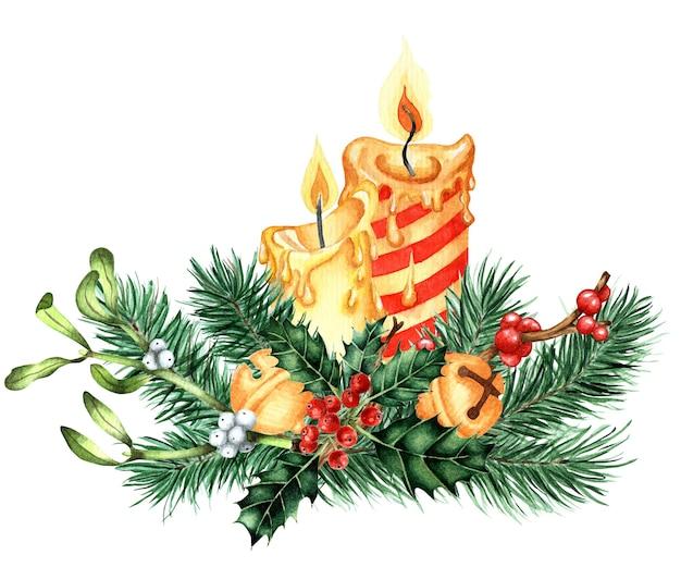 Wystrój na boże narodzenie i nowy rok akwarela ilustracja świec ozdobiona ostrokrzewem ilex jemiołą