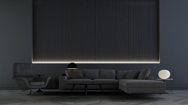 Wystrój nowoczesnego salonu i czarne tło ściany