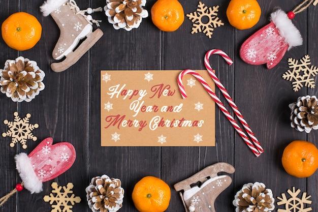 Wystrój noworoczny - stożek, rękawica, łyżwa, mandarynka, płatek śniegu, drewniany b