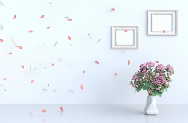 Wystrój tła białego pokoju z różowymi liśćmi ciosu