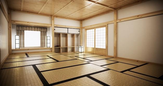 Wystrój wnętrz, nowoczesny salon z matą tatami i tradycyjne japońskie drzwi na najlepszym widoku okna. renderowania 3d