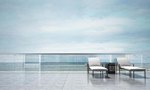 Wystrój wnętrz salonu i przestrzeni życiowej na świeżym powietrzu oraz tło z widokiem na morze