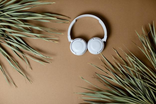 Wysuszeni palma liście na rzemiośle tapetują tło. białe słuchawki bezprzewodowe na papierze rzemieślniczym.