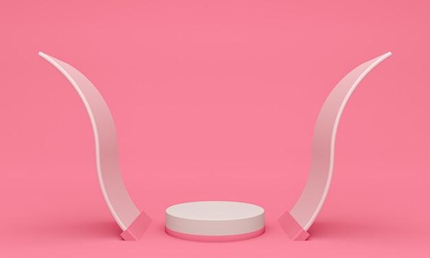 Wyświetl tło do prezentacji produktów kosmetycznych, podium cylindrów na różowym tle