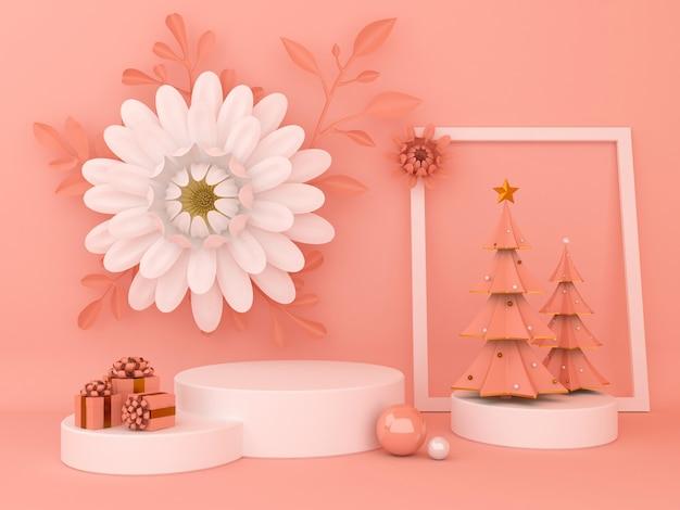 Wyświetl tło do prezentacji produktu kosmetycznego. pusta prezentacja, renderowanie 3d, papier do kwiatów.