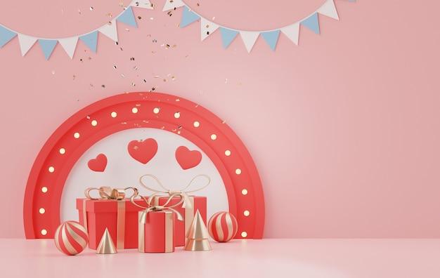 Wyświetla podium z pięknym tłem w kształcie serca na walentynki