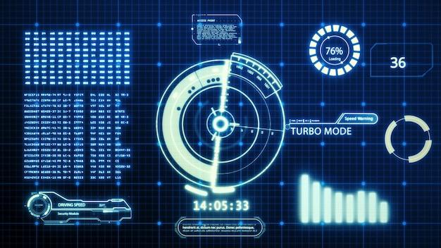 Wyświetlacz ekranu komputera z interfejsem użytkownika prędkości jazdy hud z pikselowym tłem