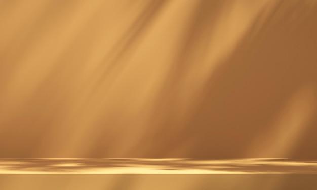 Wyświetlacz podium produktu 3d z pomarańczowym tłem i cieniem drzewa, tło makiety produktu letniego, ilustracja renderowania 3d