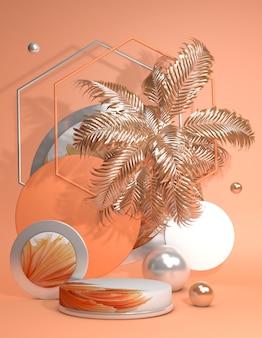 Wyświetlacz produktów 3d pastelowe pomarańczowe podium ozdobione złotymi tropikalnymi liśćmi palm na pomarańczowym letnim tle w stylu pionowej ilustracji 3d