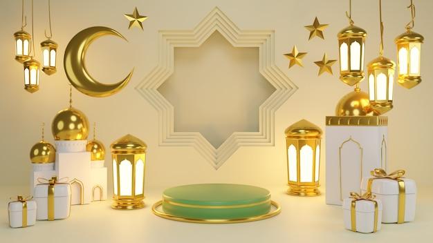 Wyświetlacz produktów islamskich. podium, sierp księżyca, latarnia, pudełko upominkowe. ramadan, islamski nowy rok. renderowanie 3d.