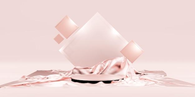 Wyświetlacz produktu i luksusowa błyszcząca tkanina pusta półka na podium lub podium galeria produktów