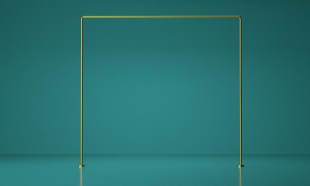 Wyświetlacz produktu w złotej ramie. koncepcja luksusu. streszczenie tło geometryczne, renderowanie 3d