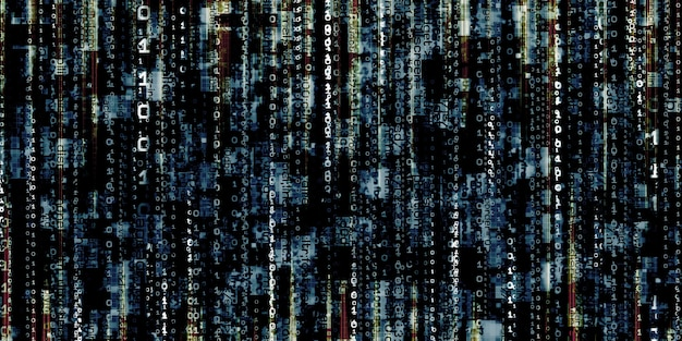 Wyświetlanie błędu komputera uszkodzone dane binarne haker cyfrowe tło ekranu danych binarnych