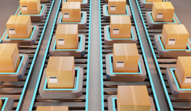 Wysyłka paczek. automatyczne zarządzanie logistyką, renderowanie 3d