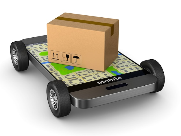 Wysyłka skrzyni ładunkowej z kołem i telefonem na białym tle. izolowana ilustracja 3d