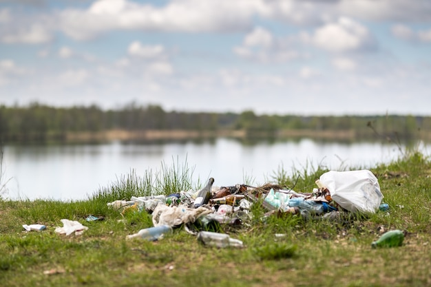 Wysypisko śmieci na jeziorze problemy środowiska przyrodniczego