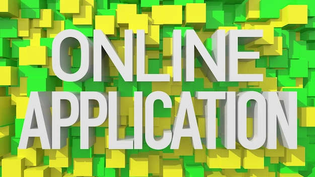 Wytłaczany tekst aplikacji online z niebieskim abstrakcyjnym tłem wypełnionym kostkami