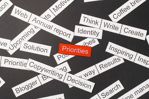 Wytnij papierowe priorytety napisów na czerwonym tle, otoczone innymi napisami na ciemnym tle. koncepcja chmura słowa.