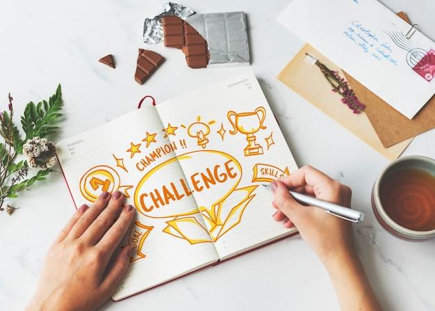 Wyzwanie cel docelowa próba umiejętności test umiejętności koncepcja trofeum
