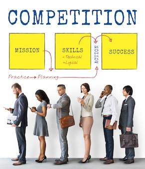 Wyzwanie konkurencja ulepszenie osiągnięcie cel diagram słowo