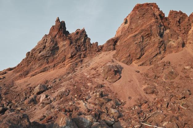 Wyżyna w górach otoczona szczytami skalistych gór pod czystym, błękitnym niebem