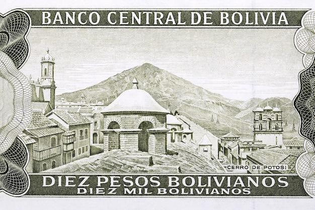 Wzgórze potosi ze starych boliwijskich pieniędzy bolivianos